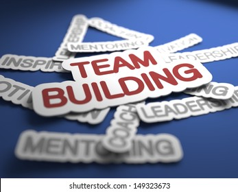 Team Building Text on Blue Background with Selective Focus. 3D Render.
