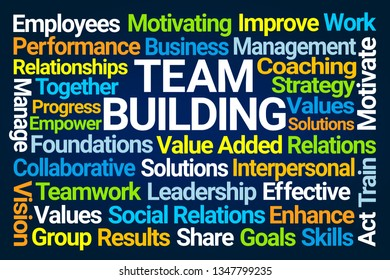 Team Building Word Cloud on Blue Background