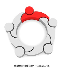 Team Business 5 Logo Leadership,  3D isolated in white background