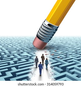 Team business management as several businesspeople walking in a clear path on a maze or labyrinth as an eraser from a pencil creating a clear path to a successful solution as a motivation metaphor.