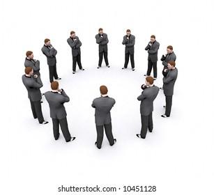 a team of businessman arranged in a circle