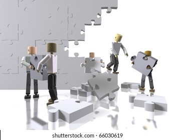 A team collaborating to build a puzzle