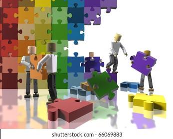 A team collaborating to build a rainbow flag