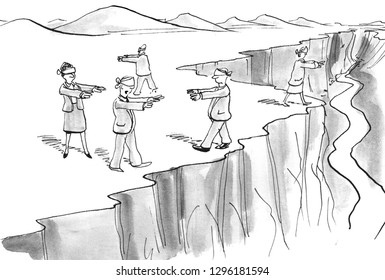 Team of corporate management wanders blindly along a cliff without leadership