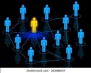 Team leader managing work force concept