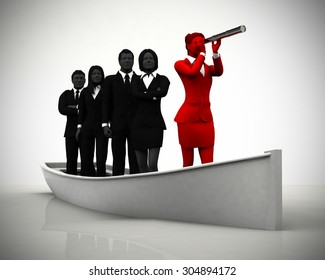 Team with leader on boat with a telescope. A successful team led by a great leader looking through a telescope on a boat navigating towards success.