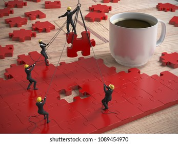 A team of miniature people building great red jigsaw puzzle on a wood table next to a coffee cup as 3d rendering.