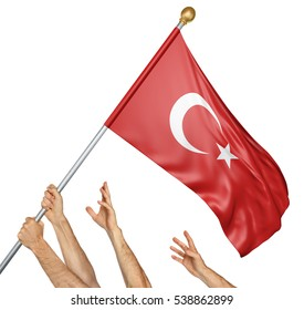 Team of peoples hands raising the Turkey national flag, 3D rendering isolated on white background