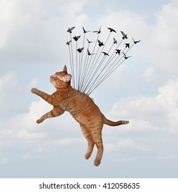 Team power concept and uniting together to overcome fear and win as an organization with a goal as a group of birds lifting a cat tied up as a metaphor for teamwork in a 3D illustration style.