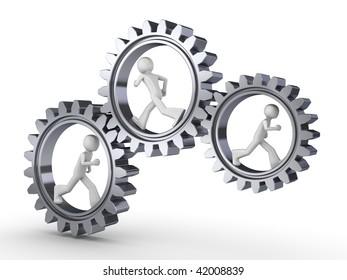 Team power (three men walking inside gears)