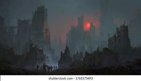 A team of soldiers walk in the city after the nuclear war, 3D illustration.