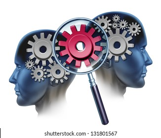 Team Solution and business partners success by cooperating and coming together to create  industry innovation as two people and a group of gears and cogs and a magnifying glass focused on a red one.