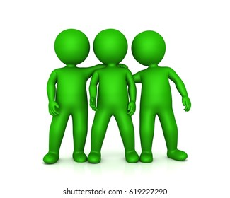 team stickman people group friends 3d rendering isolated background green