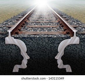 Team strategy business concept as a railroad track in perspective with the shape of two human heads underground working together as a team with a strong partnership sharing a common goal for success.