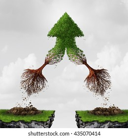 Team and teamwork collaboration concept as two flying  trees combining together in friendship and mutual benefit creating an arrow as a business metaphor for courage in a 3D illustration style.