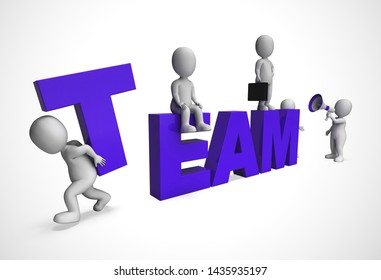 Team or teamwork concept icon means collective solidarity and collusion. Task force joining forces together - 3d illustration