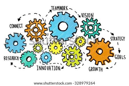 team teamwork goals strategy vision businessのイラスト素材 328979264