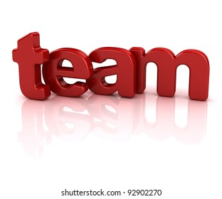 team text 3d isolated over white background