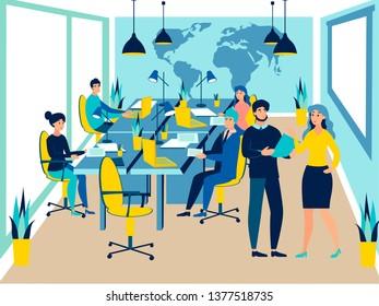 Team work conference meeting. Business talking. Flat style. Cartoon raster illustration