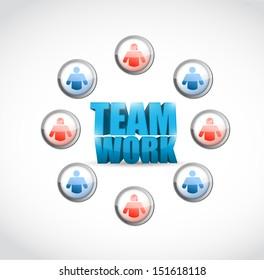 team work. social network illustration design over white