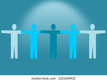 Team work, teamwork, business  blue background