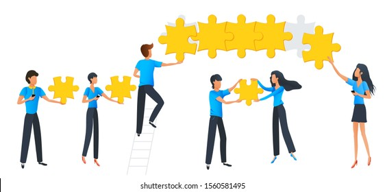 Teamwork business concept. Team at work. Group of people connecting puzzle elements. Flat design vector illustration. Symbol of teamwork, brainstorming, cooperation and partnership