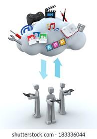 Teamwork cloud server and sharing concept 3d illustration