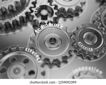 Teamwork concept, gear wheels close-up. 3d illustration.