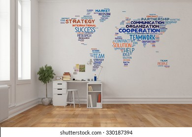 Teamwork concept on world map on a wall in home office over desk (3D Rendering)