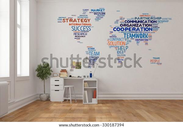 Khái niệm làm việc nhóm trên bản đồ thế giới trên một bức tường trong văn phòng nhà trên bàn làm việc (3D Rendering)