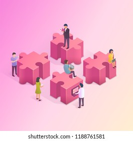 Teamwork concept. People are building a business on the internet. Isometric illustration.
