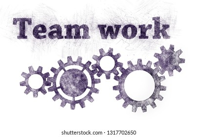 Teamwork concept with sketch words and group gears