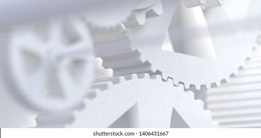 Teamwork and cooperation concept.Group of mechanisms and gears.Industrial and engineering abstract background.3d illustration