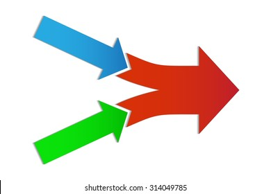 Teamwork and Focus on Results - 2 in 1 Horizontal Converging Arrows, on a White Background