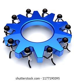 teamwork gear wheel, cogwheel business process. partnership, manpower, worker characters. men team work turning blue gearwheel together. cooperation community icon. 3d rendering