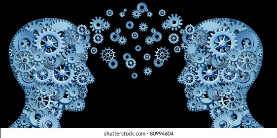 Teamwork and Leadership with education symbol represented by two human heads shaped with gears and cogs representing the concept of intellectual communication through technology exchange.