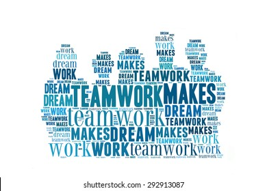 Teamwork makes the dream work, word cloud conceptual