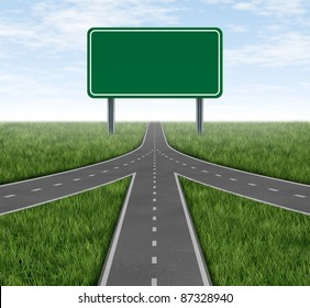 Teamwork and partnerships connecting on the same path as a team sharing the same strategy and vision for the success of a company by working together merging as one with a blank green highway sign.