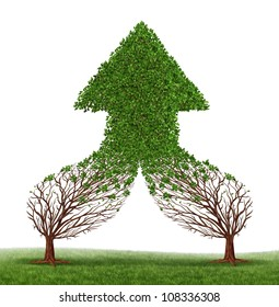 Teamwork Success and working together as a business symbol and financial merger concept with two trees connecting and merging as one forming a healthy growing arrow shaped tree as an icon of growth.