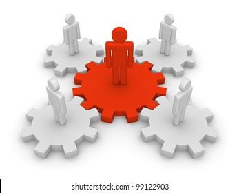 Teamwork with team leader
