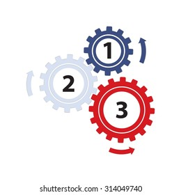 Teamwork / Value Chain - 3 Gearwheels with Arrows, Infographic on a white background