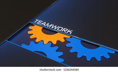 Teamwork way to success background 3D illustration