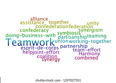 Teamwork word cloud on a white background