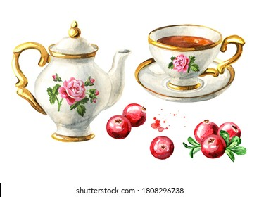 Teapot, cup of tea and Cranberry set. Hand drawn watercolor illustration isolated on white background
