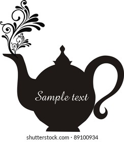 Teapot with floral design elements.Teapot silhouette isolated on White background. Restaurant menu or Invitation.  illustration
