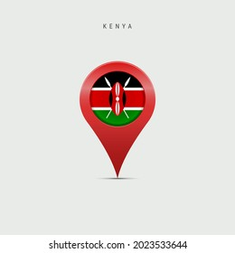 Teardrop map marker with flag of Kenya. Kenyan flag inserted in the location map pin. 3D illustration isolated on light grey background.