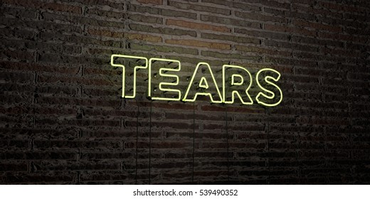 TEARS -Realistic Neon Sign on Brick Wall background - 3D rendered royalty free stock image. Can be used for online banner ads and direct mailers.