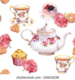 Teatime - tea pot, teacup, cakes and flowers. Repeating tea pattern. Watercolour
