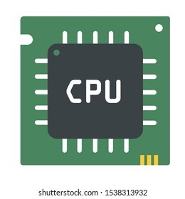 tech icon electronic  computer circuit chip. Illustration micro processor chip CPU is in a flat style.