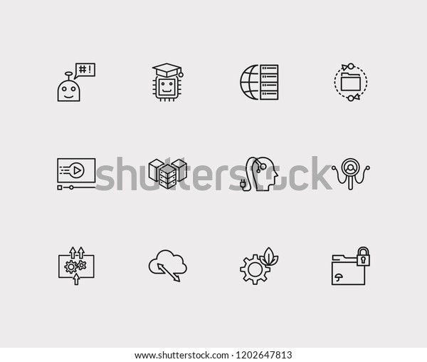 Tech Icons Set Machine Learning Tech Stock Illustration 1202647813